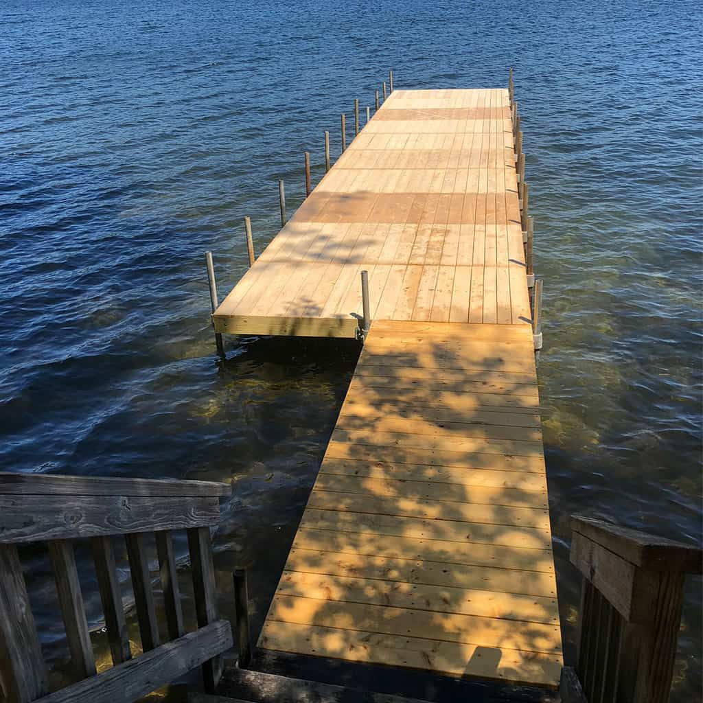 Dock with wood decking